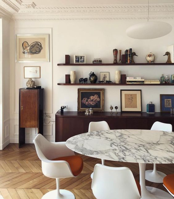 panda marble | French country mid-century modern dining table open shelving console | Girlfriend is Better