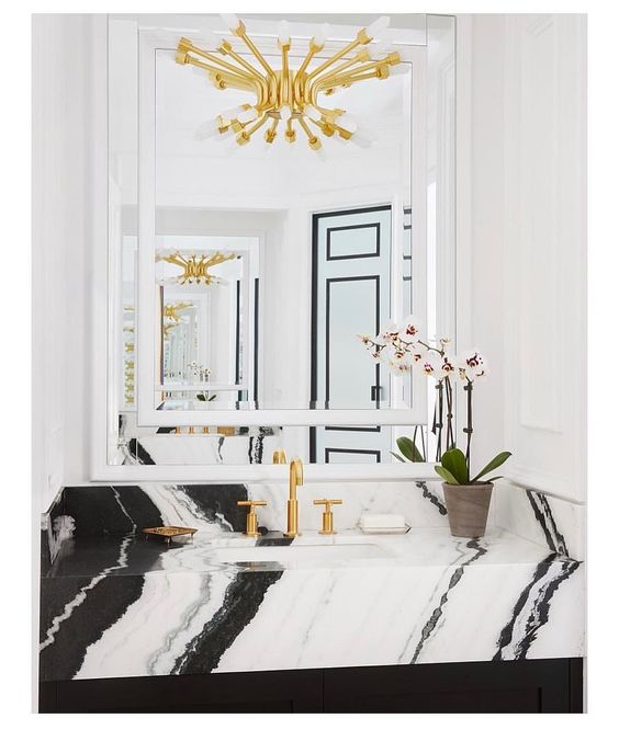 panda marble | bathroom sink gold chandelier mid-century modern contemporary black white | Girlfriend is Better