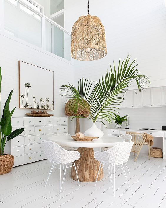 midsummer hygge | white dining room natural decor rattan hanging light beach house | Girlfriend is Better
