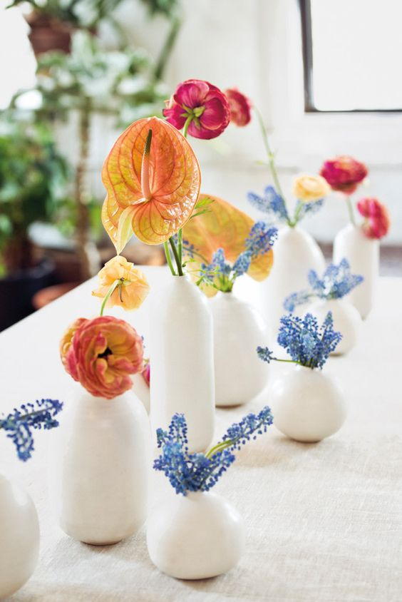 midsummer hygge | wildflower tablescape red yellow blue white vases natural ceramic | Girlfriend is Better