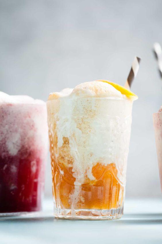 rooibos tea | vanilla ice cream float soda peach vegan coconut milk recipe | Girlfriend is Better