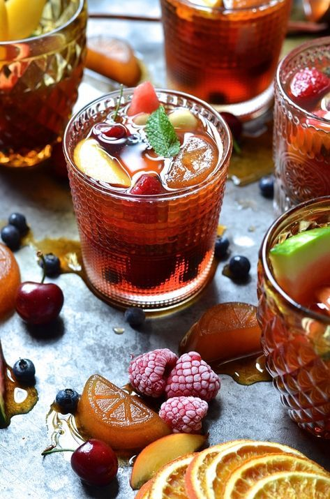 rooibos tea | cocktail sangria grape juice nectarines watermelon recipe non-alcoholic | Girlfriend is Better