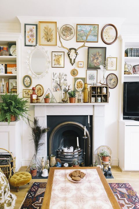 Southern Bohemian  | gallery wall vintage eclectic fireplace decor mantle  | Girlfriend is Better