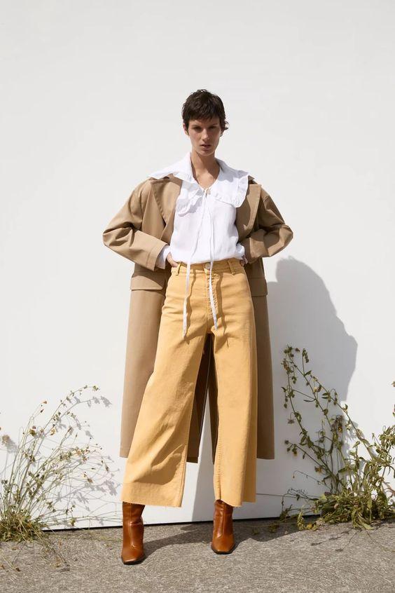 straight leg pants | yellow high-waist high-rise trench coat neutrals | Girlfriend is Better