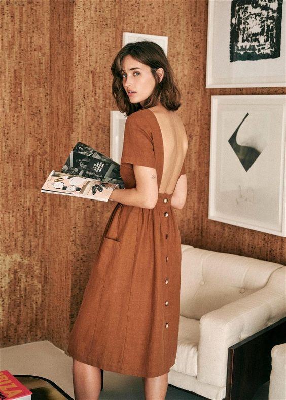 summer dresses | rust brown buttons open back pockets | Girlfriend is Better
