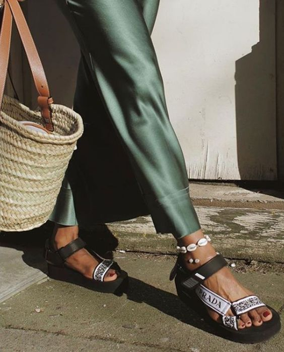 summer sandals | green silk pants with woven bag | Girlfriend is Better
