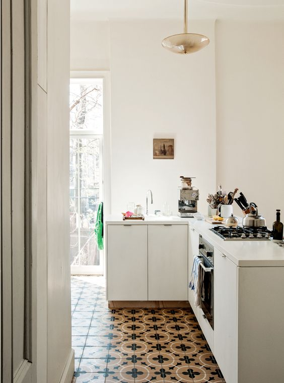 white interiors | graphic tile kitchen vintage | Girlfriend is Better