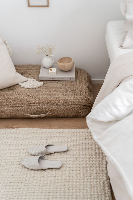 white interiors | natural fiber rug hygge bedroom linen bedding | Girlfriend is Better