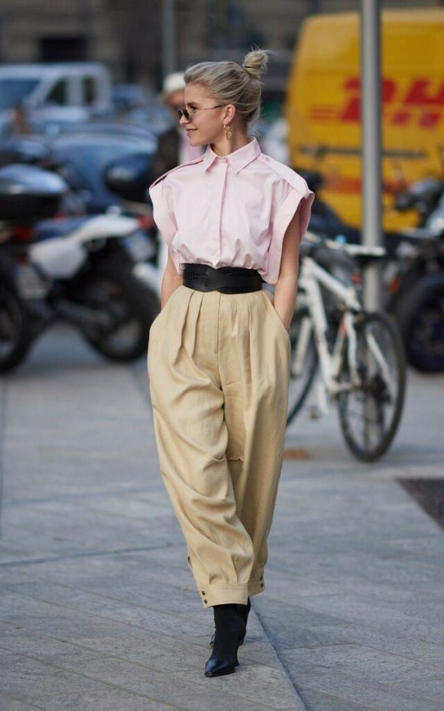80s street chic | pleated high-waist slacks wide belt tapered leg chinos khakis | Girlfriend is Better