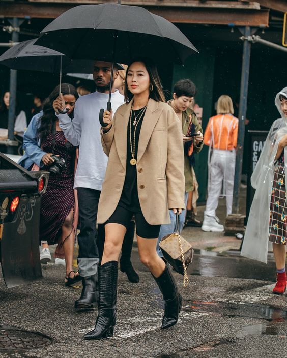 bike shorts | black boots oversized blazer 90s work wear | Girlfriend is Better