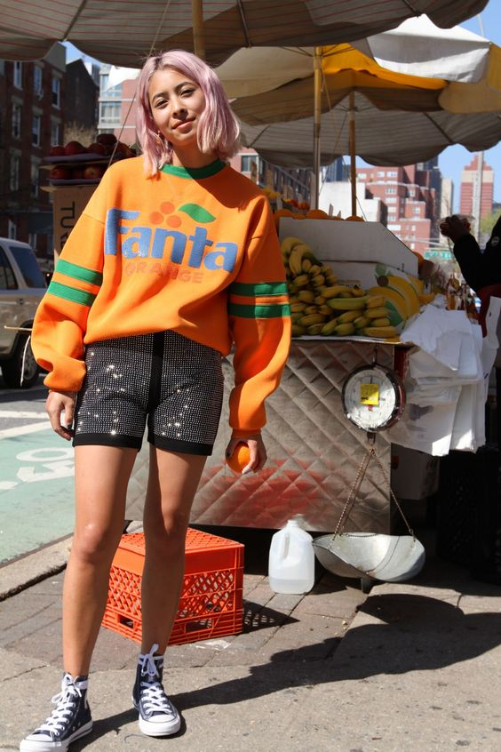 bike shorts | 90s layered layering oversized sweatshirt Fanta Converse | Girlfriend is Better