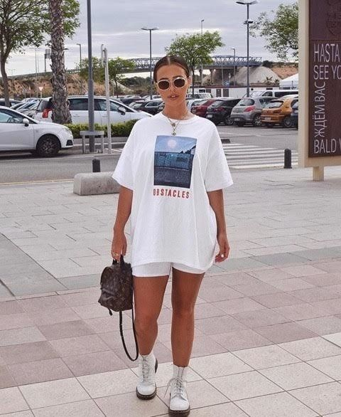white bike shorts | oversized graphic tee doc martens | Girlfriend is Better