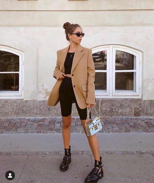 bike shorts | oversized blazer wool camel tiny sunglasses work wear | Girlfriend is Better