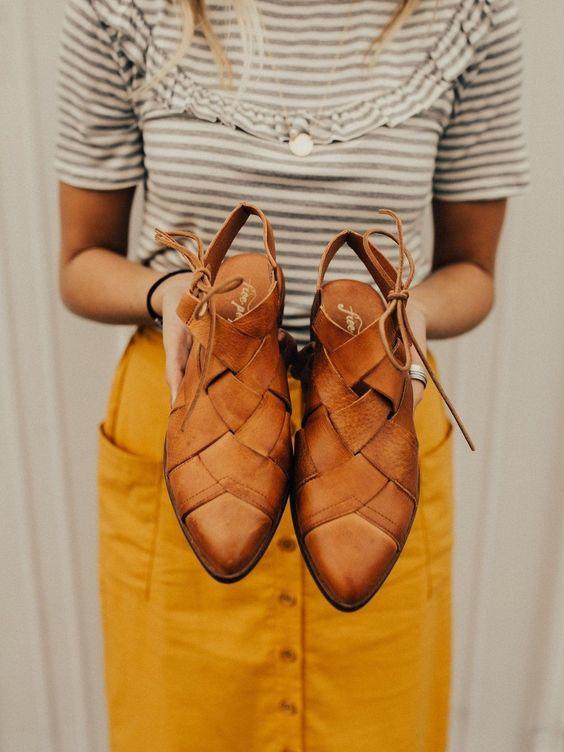 leather flats   braided weave tan neutral work wear shoes   Girlfriend is Better