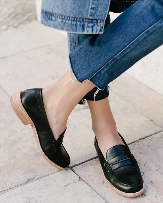 leather flats | black loafers cropped denim | Girlfriend is Better