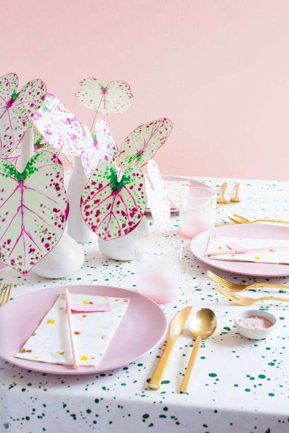 pink plants | paper Caladium tablescape diy gold | Girlfriend is Better
