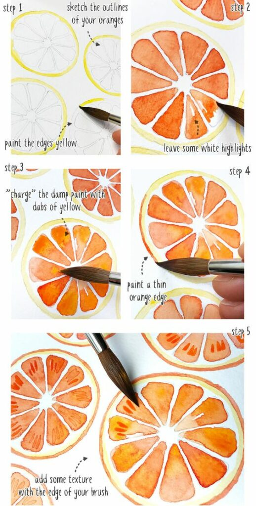watercoloring | beginners tutorial diy orange slice paint brush techniques | Girlfriend is Better
