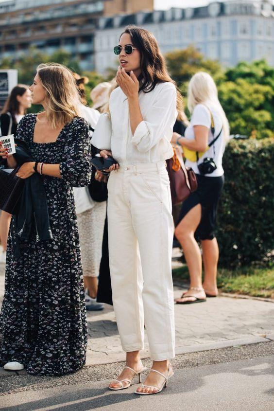 business casual | white barrel jeans silk blouse work wear Fall fashion | Girlfriend is Better