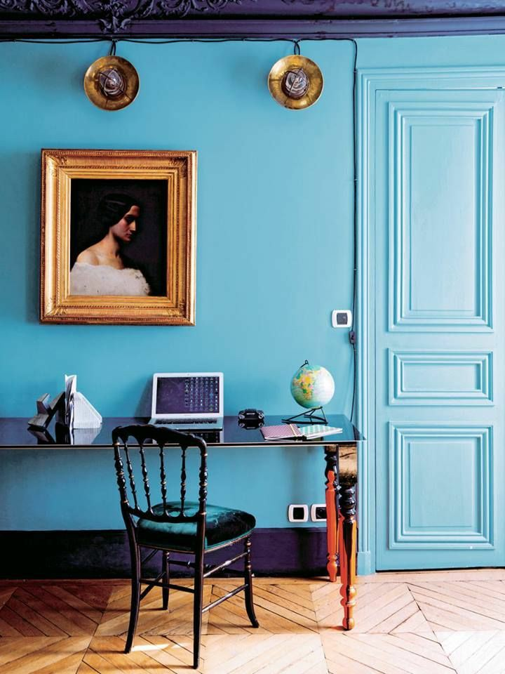 home office | dark wall paint blue portrait random person vintage desk | Girlfriend is Better