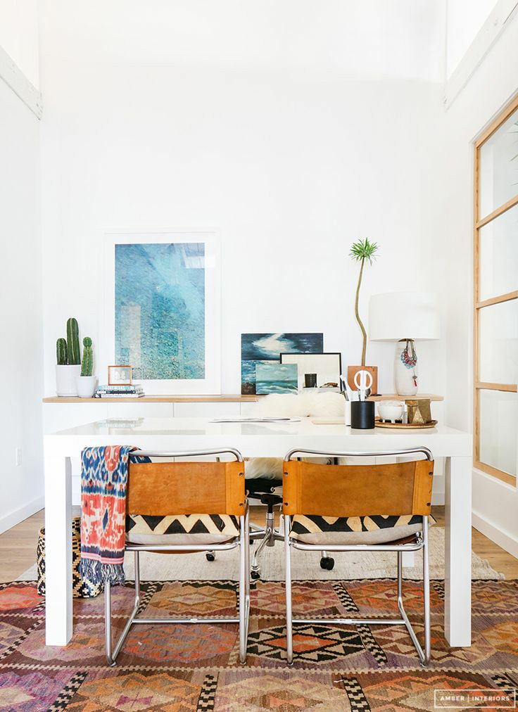 home office | Bohemian shared desk leather chairs watercolor | Girlfriend is Better