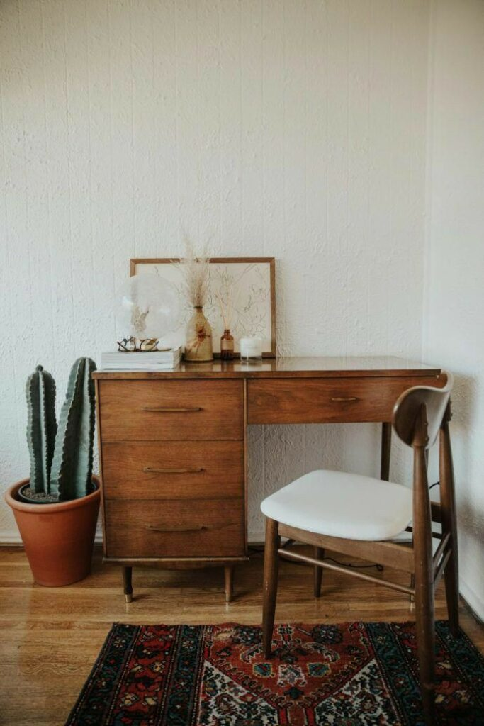 home office | Bohemian wood desk are rug Amber glass nook | Girlfriend is Better