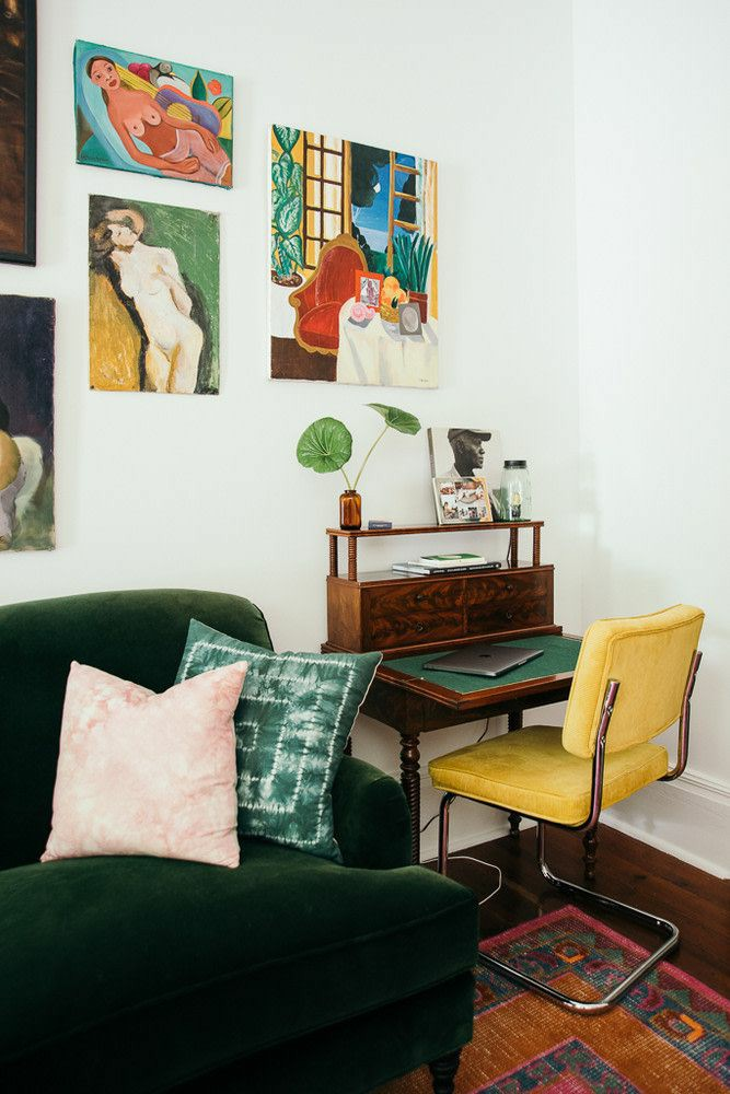 home office | Bohemian nook vintage desk yellow leather chair painting gallery wall | Girlfriend is Better