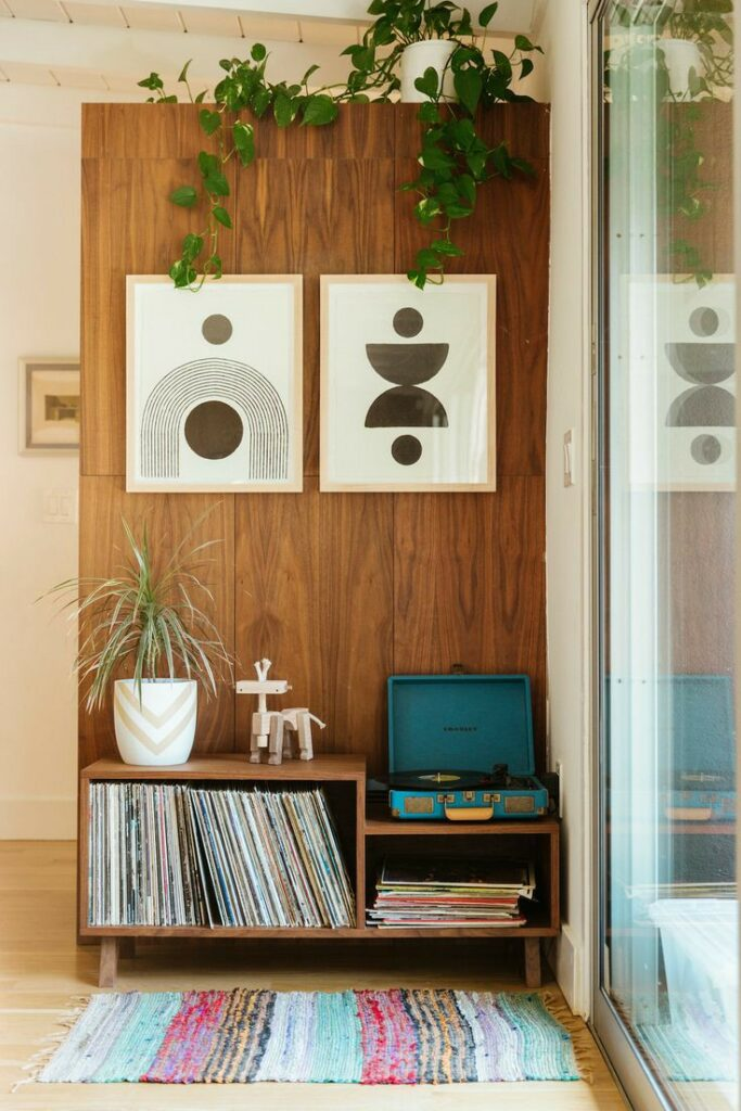 home office | mid-century modern water element vinyl vintage record player | Girlfriend is Better