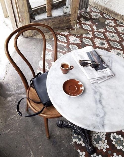 bentwood chairs | French cafe graphic tile vintage wood | Girlfriend is Better