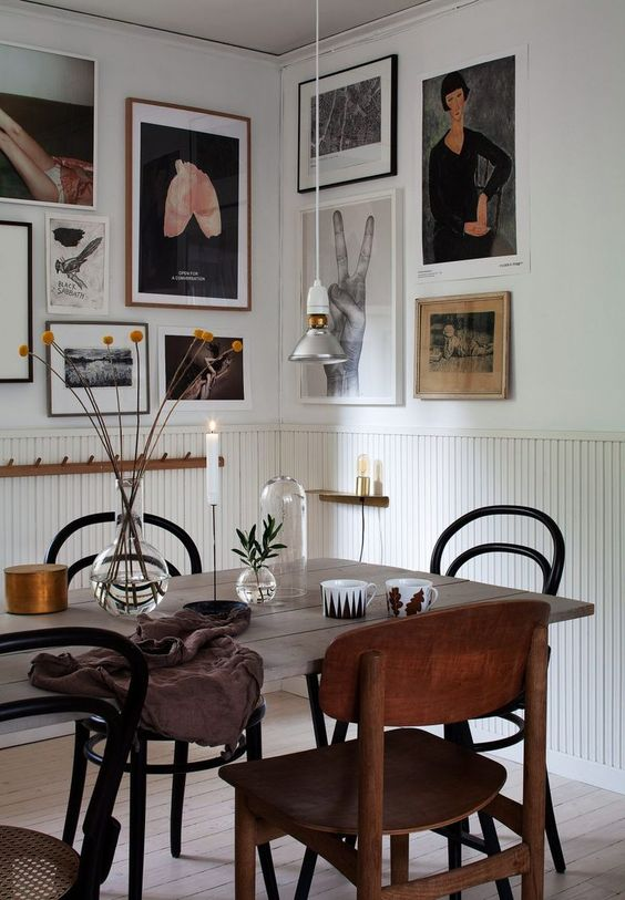 bentwood chairs | dining room gallery wall hygge decor | Girlfriend is Better