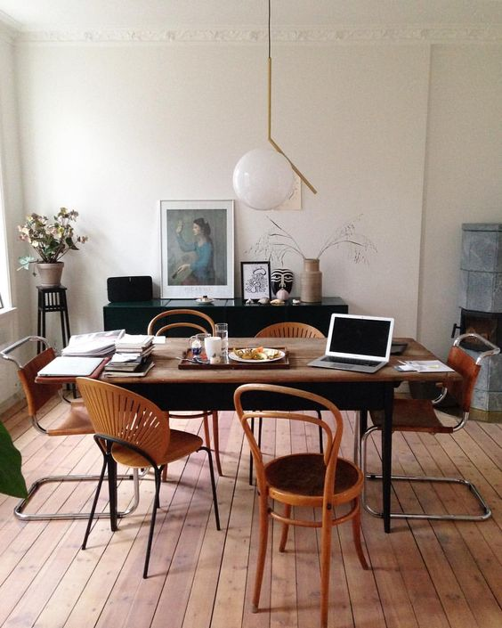 bentwood chairs | dining room home office Breuer style mixed set portrait random person | Girlfriend is Better