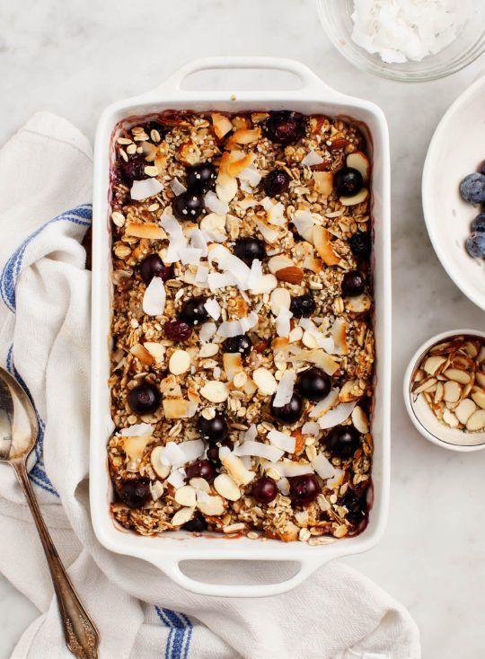 oats recipes | vegan gluten-free Baked Oatmeal Blueberries healthy | Girlfriend is Better