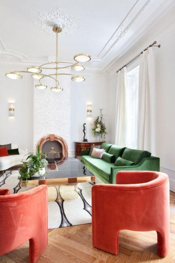 Parisian art deco | color block living room horseshoe chair modern ceiling light | Girlfriend is Better
