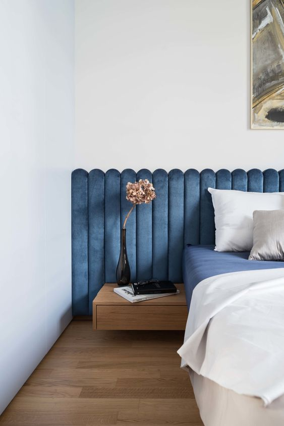 Parisian art deco | blue velvet headboard texture bedroom French | Girlfriend is Better