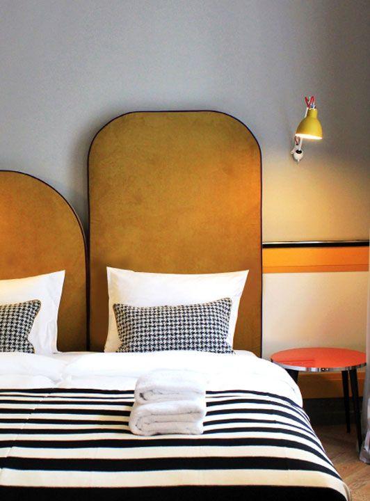 Parisian art deco | modern headboard black white bedroom | Girlfriend is Better