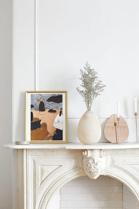 Parisian art deco | ceramic decor fireplace hygge white moulding | Girlfriend is Better