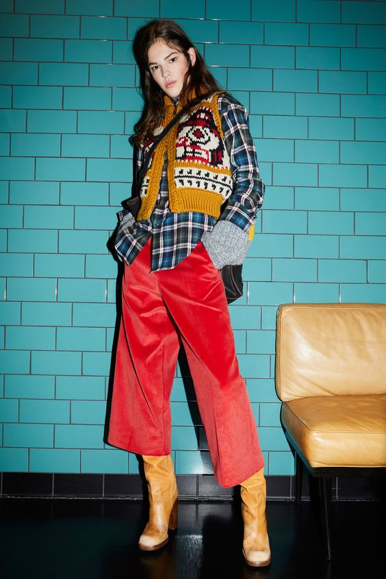 winter layers | flannel wool vest cropped straight leg pants tan boots | Girlfriend is Better