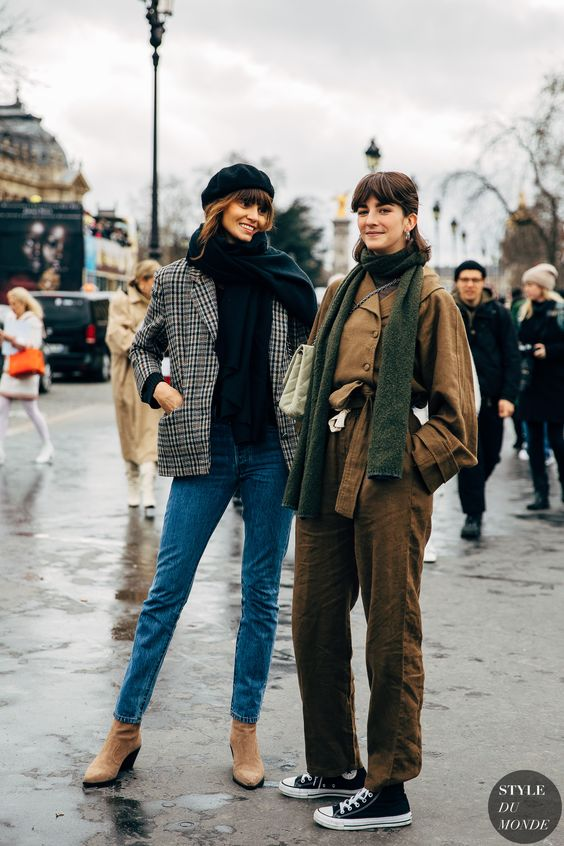 winter layers | neck scarves cropped pants beret french girl cool | Girlfriend is Better