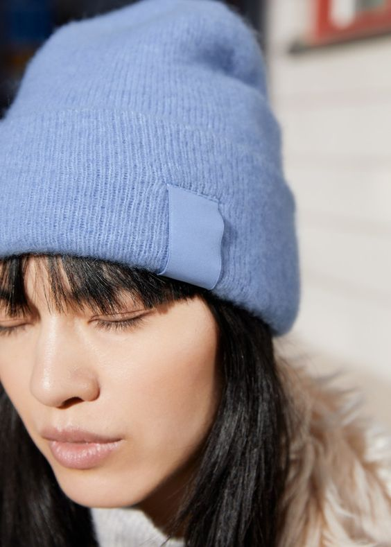winter layers | blue wool beanie fur collar | Girlfriend is Better