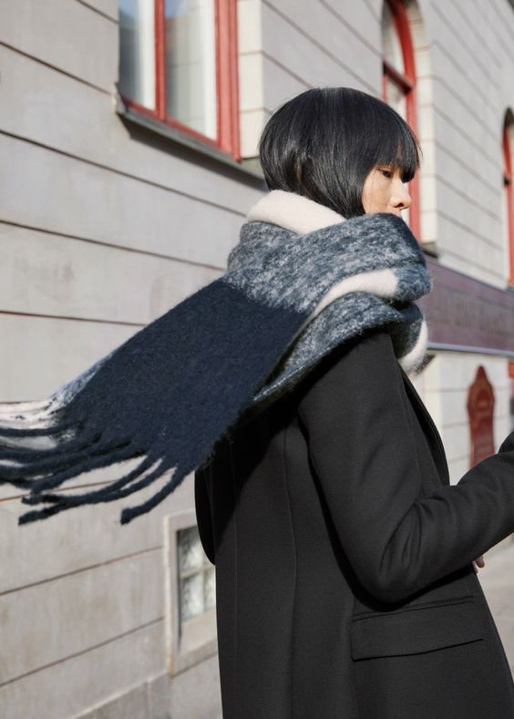 winter layers | wool striped neck scarf pea coat black grey | Girlfriend is Better