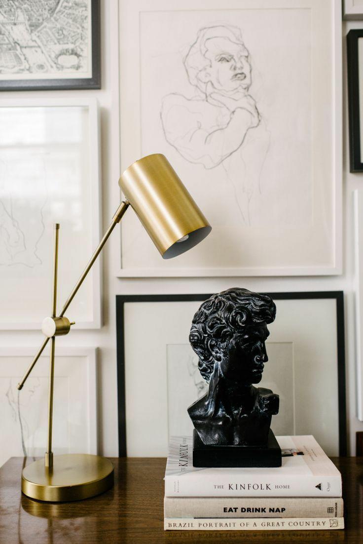 bust statues | black stone Greek inspired gallery wall | Girlfriend is Better