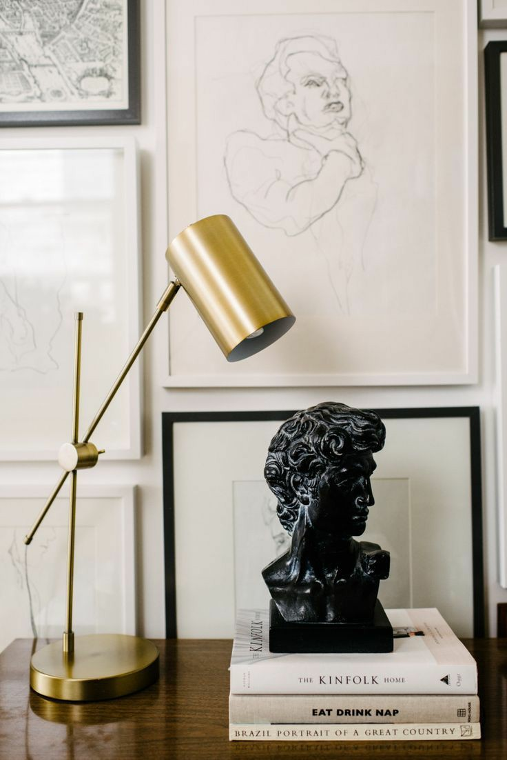 bust statues | black stone Greek inspired gallery wall | Girlfriend is Better
