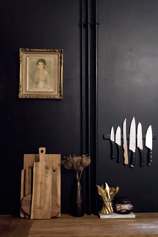 dark wall paint   moody kitchen portrait random person knives cutting boards hygge   Girlfriend is Better