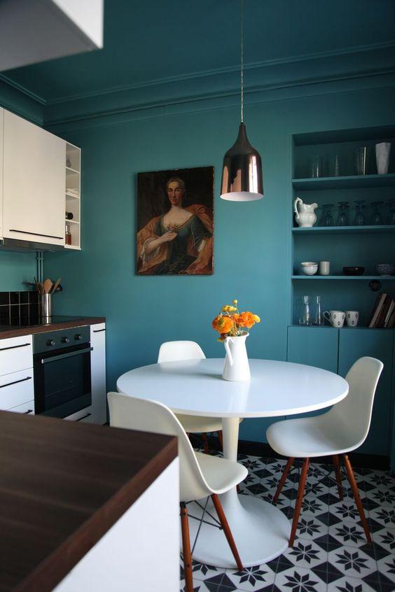 dark wall paint | kitchen nook graphic tile portrait random person mid-century modern vintage | Girlfriend is Better