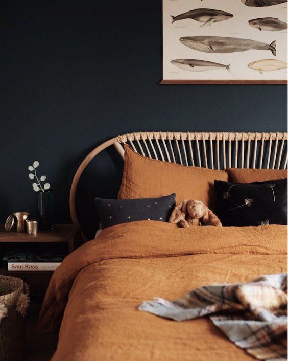 dark wall paint | bedroom Feng Shui linen bedding | Girlfriend is Better