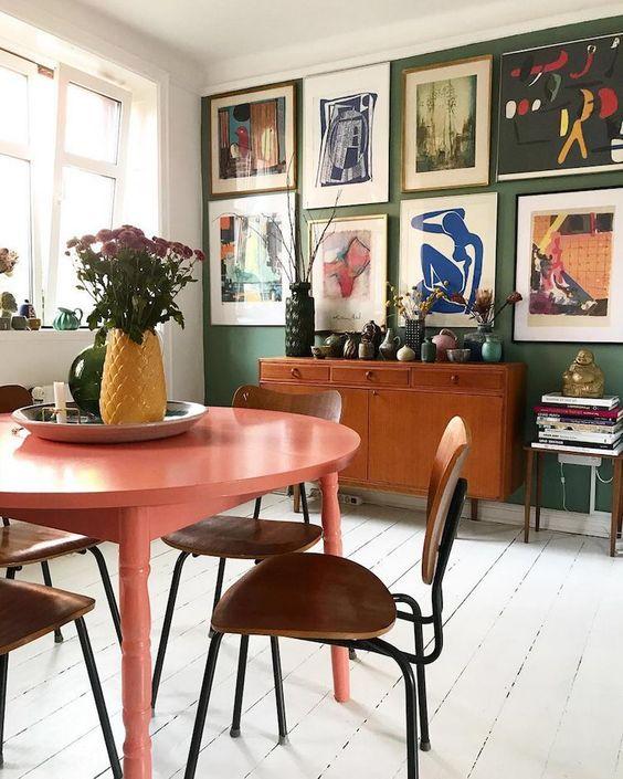 dark wall paint | green accent kitchen gallery abstract art | Girlfriend is Better