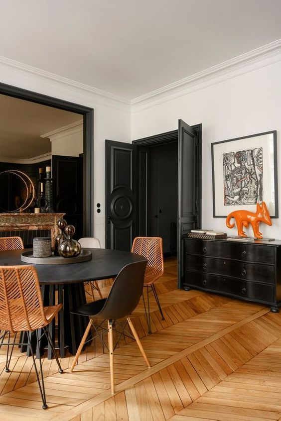 herringbone wood floors | dark wall paint dining room mid-century modern | Girlfriend is Better