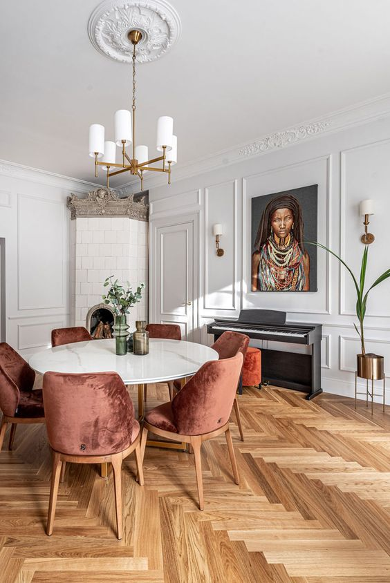 herringbone wood floors | dining room Parisian decor portrait random person upright piano velvet chairs | Girlfriend is Better