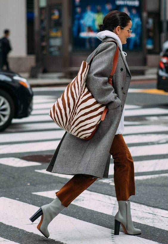 layering hoodies | work wear neutrals grey zebra tote ankle boots | Girlfriend is Better