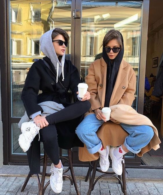 layering hoodies | BFF wool full-length coats tennis shoes | Girlfriend is Better