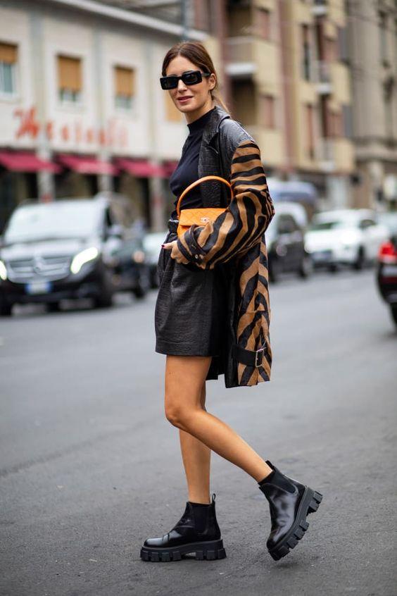 mock necks   winter layers monochromatic black ankle boots zebra animal print jacket sunglasses top handle purse   Girlfriend is Better